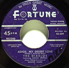 """THE DIABLOS,DOO-WOP:""""ADIOS MY DESERT LOVE+OLD FASHIONED GIRL""""FORTUNE 45rpm1954"""