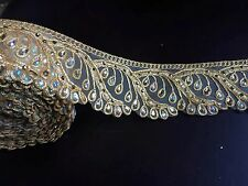 1 meters gold diamante lace trim stones beads ribbon border net craft edge 3""