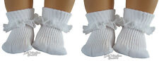"2 Pair of White Lace Trim Socks for 15"" Bitty Baby +Twins Doll Clothes Accessory"