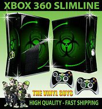 Xbox 360 Slim Etiqueta Verde Bio Hazard peligro Estilo Skin & 2 Controlador Pad Skin