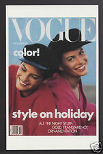 VOGUE MAGAZINE COVER ART REPRINT POSTCARD December 1988 Linda Evangelista Photo
