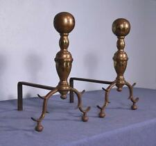 *Antique Bronze Andirons with Spurred Legs Fireplace Chenet
