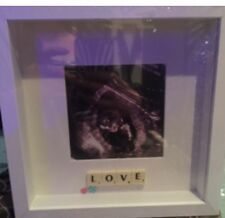 "WHITE ""BABY SCAN"" SCRABBLE TILE PICTURE STUNNING CAN BE PERSONALISED"