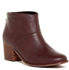 NEW $139 TOMS Leila Size 8.5 Bootie Oxblood Red/Brown Leather Ankle Boot