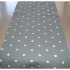 """Table Runner 6ft Silver Grey and White Polka Dots 72"""" Dotty 180cm Dot Spot Spots"""