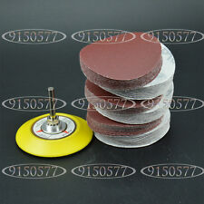 "3Inch Abrasives Hook & Loop Sanding Pad 1/4"" Shank + 60pcs Sand Paper Mixed Set"