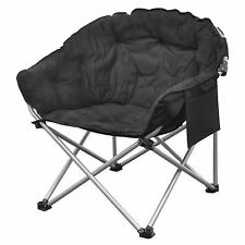 Large Folding Club Lounge Chair Sports Games Superior Comfort Padded in Black