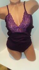 new  L/XL cotton dark purple bodysuit spaghetti straps top  thong bottom leotard