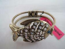 Betsey Johnson gold tone crystal bangle hinged bracelet, NWT