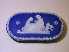 Wedgwood Dark Blue Dip Jasper Ware Oval Match Box c.1880