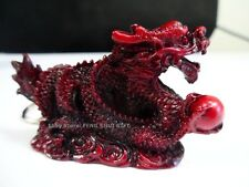 Dragon Feng Shui Oriental Chinese Lucky Keychain Ring Figurine Charm Cherry Wood