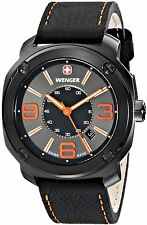 BRAND NEW WENGER 01.1051.107 ESCORT BLACK LEATHER STRAP GUNMETAL CASE MENS WATCH