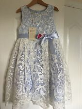 Monsoon Aoife Ice Pale Blue White Embellished Girls Party Wedding Dress Age 7