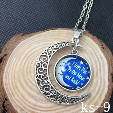 2015 New Handmade I Love You To The Moon And Back Necklace Silver plated tg1