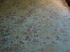 COTTON FLORAL LAMPAS BROCADE, BLUE, GOLD, BURGUNDY, BY THE YARD