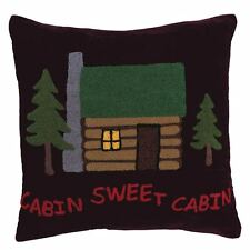 "CABIN SWEET CABIN Brown Velvet Hooked 18"" Toss Pillow Lodge Decor Polyfill C & F"