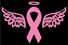 """Breast Cancer Awareness Pink Ribbon with Wings & Halo Vinyl Decal 5""""H x 7""""W"""