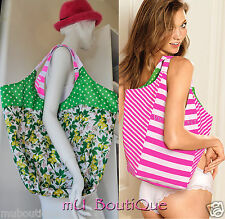 1 VICTORIA'S SECRET BEACH PINK GREEN REVERSIBLE STRIPES CANVAS BAG TOTE  SHOPPER
