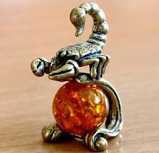 Insect Scorpion Brass Figurine Sculpture on Honey Baltic Amber Ball