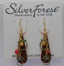 Silver Forest 2 Layer Pear & Apple CutOut Hook Earrings W Dangling Colored Beads