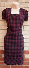 FLORENCE & FRED LIMITED EDITION BURGUNDY BLACK TARTAN CHECK TUBE FORMAL DRESS 18