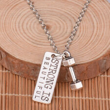 Dumbbell STRONG IS BEAUTIFUL Weightlifting Barbell Chain Necklace Gym Crossfit