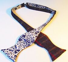 Bleu laine tweed self tie bow tie/liberty doublure imprimé. diamond ou traditionnel.