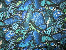 Butterfly Dramatic Butterflies Blue Green Cotton Fabric BTHY