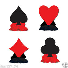 4 Casino Vegas Alice In Wonderland Party MINI Decorations CARD SUIT Playmates