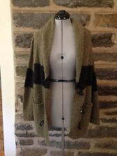 Kensie Girl Olive Green & Black Oversized Nubby Knit Cardigan, Size M, EUC!