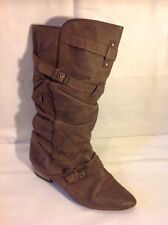 River Island Brown Mid Calf Leather Boots Size 41