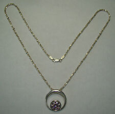 "Sterling 20"" Double S Link Necklace w/ Circle Purple & Clear, 12.74 Grams, #N566"