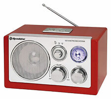 Roadstar HRA-1320US Red Retro Table radio with USB SD for MP3 Network Battery