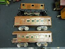 Ives #3235 Brown Electric Locomotive and 2 Passenger Cars (184,186)