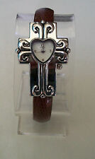 LADIES CROSS SHAPE BROWN & SILVER FINISH CUFF FASHION  WATCH