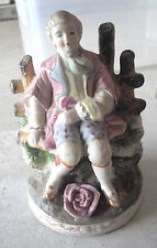 "Vintage 1950s Chase Japan Porcelain Colonial Sitting Man Figurine 6"" Tall"