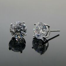 Bling stud earrings 925 silver 8mm round cubic zirconia best shine AAA cz bling