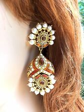 PEARL KUNDAN HANDMADE CHANDELIER FASHION EARRINGS USA SELLER