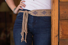 HAND MADE KNITTED BELT WITH BEADS 100% COTTON NEW