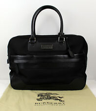 BURBERRY MEN'S BLACK LEATHER TRIM MESSENGER BRIEFCASE BAG LARGE
