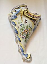 Antique Desvres n Quimper French Faience Majolica Wall Pocket Vase c1876, ff436