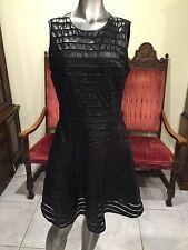The Letter Black Stripe Mesh Faux Leather Sleeveless Skater Style Short Dress L