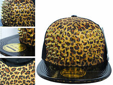 New Gold Spikes Snapback PU Leather Flat Peak Cap Natural Leopard Studded Hat...