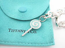 Tiffany & Co Silver  Blue Enamel Lollipop Lolli Pop Charm Bracelet Bangle!