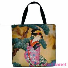 JAPANESE Geisha Pink Robe Garden Ukiyoe ASIAN TOTE SHOPPING BAG ART PRINT CANVAS