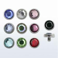 Pick a Set-Surface Dermal Anchor Tops-Gems Dome Cones- Fits 14G/16G Thread Gauge