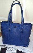 FAB! NWT New $1690 Authentic PRADA Soft Saffiano SHOPPING smaller TOTE BAG Blue