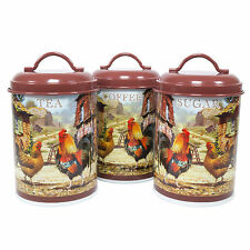 Chicken Hen Farmyard Tea Coffee Sugar Canisters Kitchen Storage Jars Vintage Set