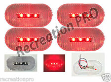 "4 NEW 4""x2"" OBLONG CLEAR/RED LED SURFACE MOUNT CLEARANCE MARKER LIGHTS 14303CR"
