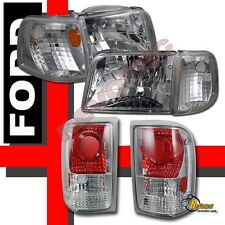 93 94 95 96 97 Ford Ranger Headlights Corner & Tail Lights Chrome 6pcs Set